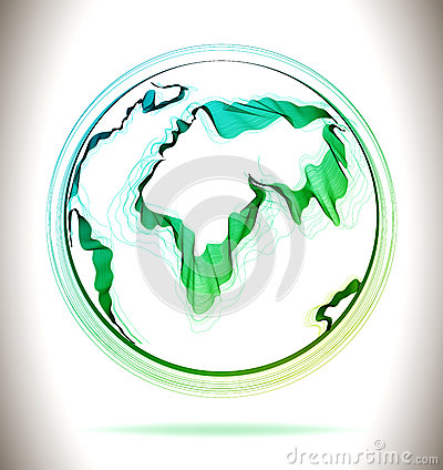 Globe green abstract icon