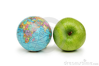 Globe and green apples