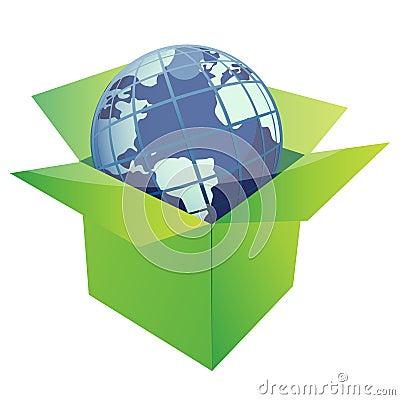 Globe and green box