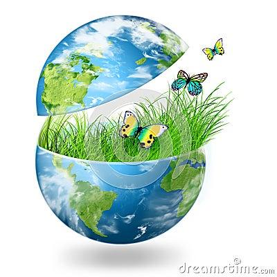 Globe on the green grass