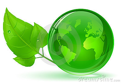 Globe and green leaves