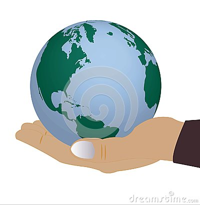Globe in hand of the person