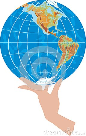 Globe in hand on white