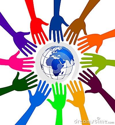 Globe hands logo Vector Illustration