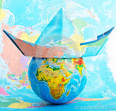 Globe with hat from map