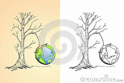 Globe hung on dry tree