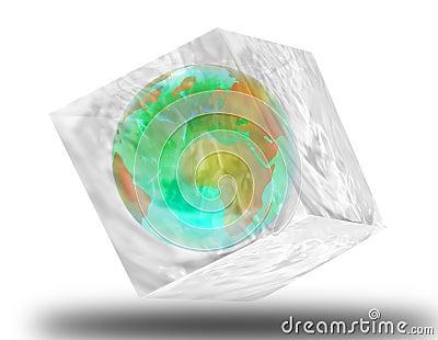 Globe in ice cube
