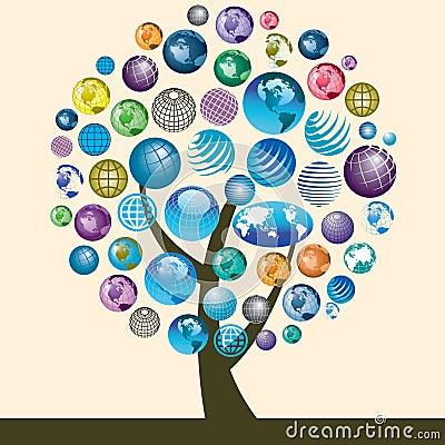 Globe icons on tree