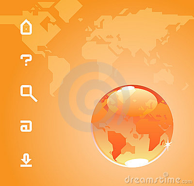Globe and icons on World map