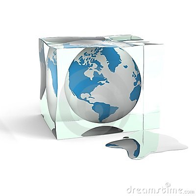 Free Globe In A Cube Of An Ice. Stock Image - 5945151