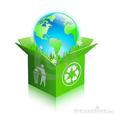 Free Globe In A Recycle Shipping Box Stock Photos - 19098343