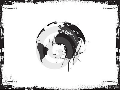 Globe ink splatter vector illustration.