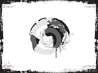 Globe ink splatter vector illustration.