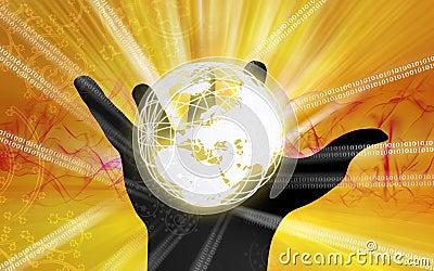 Globe inside  paw