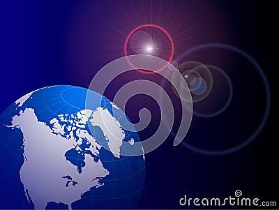 Globe on Lens Glare Background