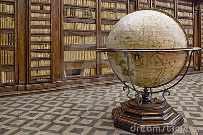 Globe in a library