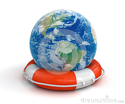 Globe and Lifebuoy (clipping path included)