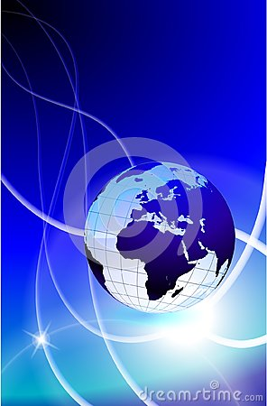Globe on Light Streak Background