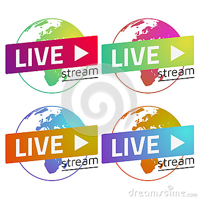 Free Globe  Live Stream Gradients Set Green, Red, Blue, Orange. Eps10 Royalty Free Stock Images - 94675399
