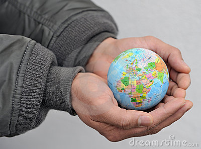 Globe in man s hands