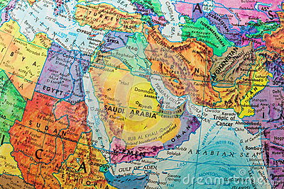 Globe Map of Middle East Countries, close-up