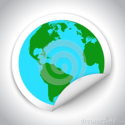 Globe map sticker