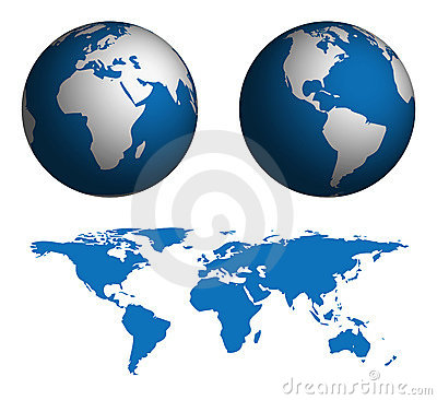 Globe and Map of the World