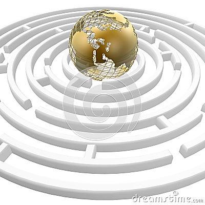Globe in maze