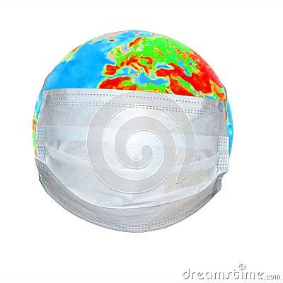 Globe in a medical mask.