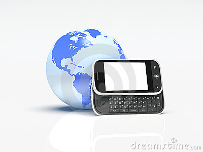 Globe and mobile phone on white. 3d