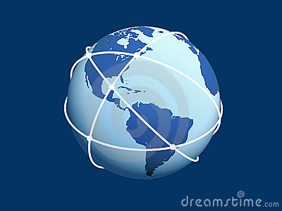 Globe with network on blue background.