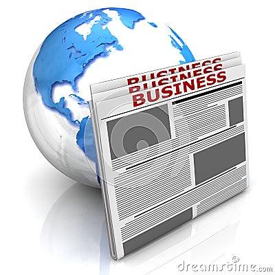 Globe with newspaper Stock Photo