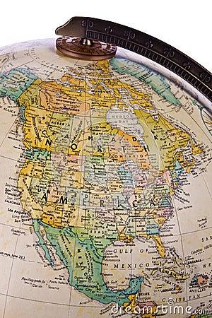 Globe - North America - Isolated