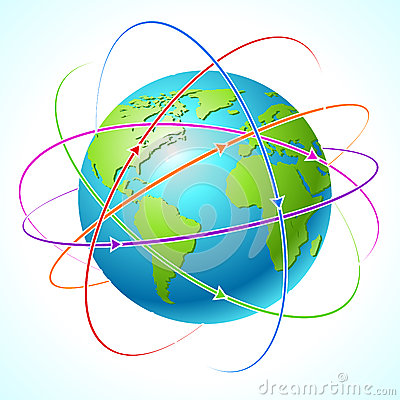 Globe with orbits. Vector map illustration