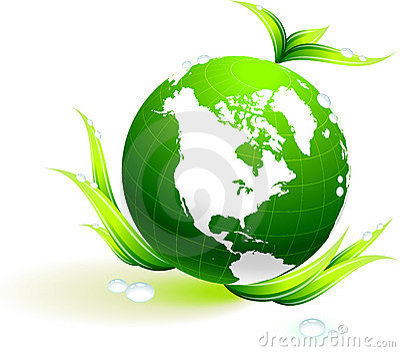 Globe on organic leaves background