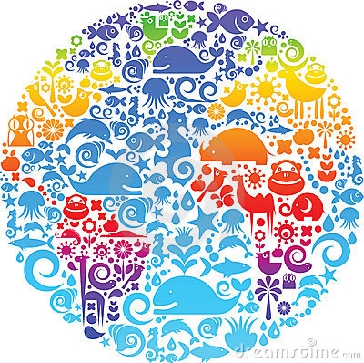 Free Globe Outline Made From Birds, Animals And Flowers Stock Photography - 12723782