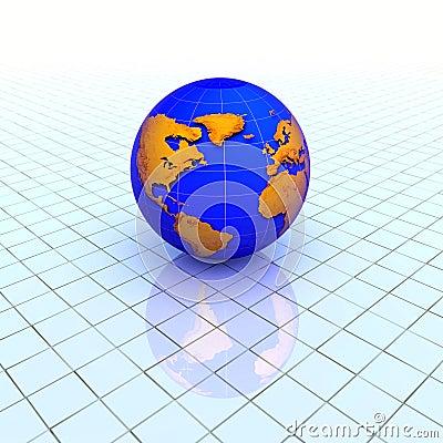 Globe over grid