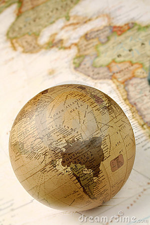 Free Globe Over World Map Royalty Free Stock Images - 7208139