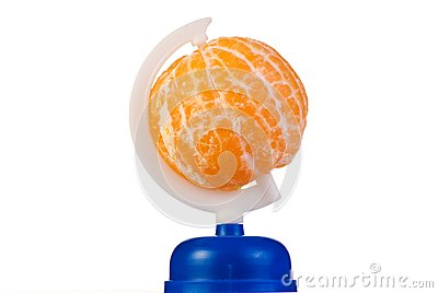Globe from peeled tangerine