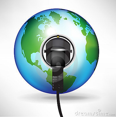 Globe with plug in power outlet