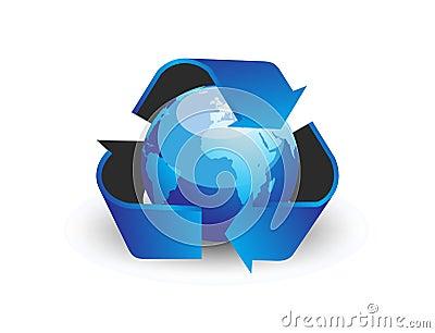 Globe with recycle arrow symbo