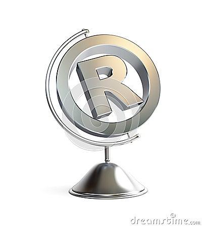 Globe registered trademark sign 3d Illustrations