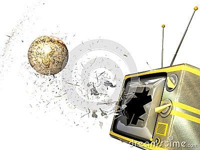 A globe smashing through tv screen