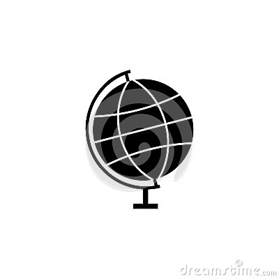 Globe solid icon, school and education element Vector Illustration