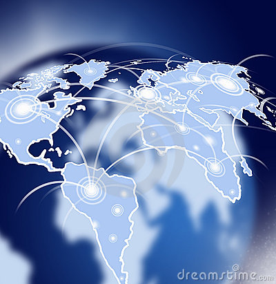 Globe in space with network