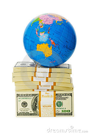 Globe and stack of dollars