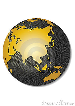 Globe. Stylized 3D vector map.