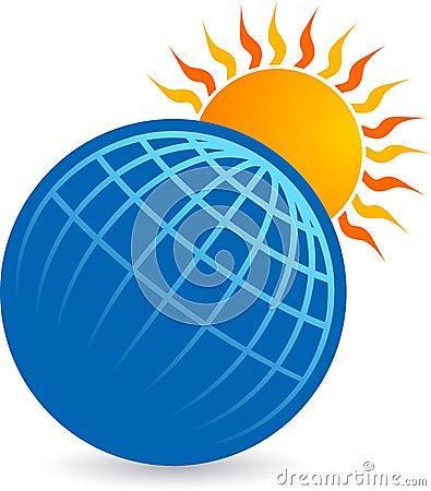 Globe with sun logo
