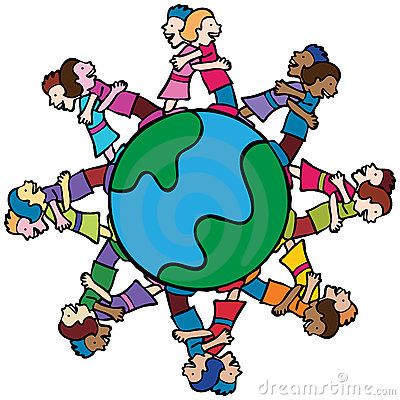 Globe with Surrounding Kids Hugging