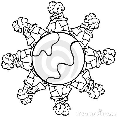 Globe with Surrounding Kids Hugging - B and W
